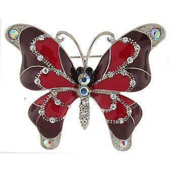 Broschen Store glänzend rot emailliert und Crystal Schmetterling Brosche