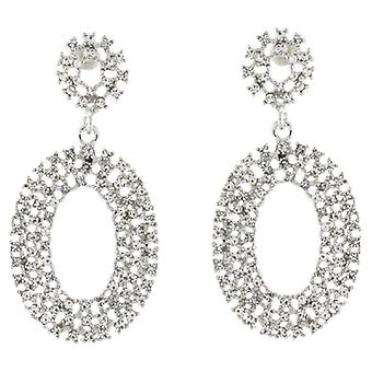 Silver & Clear Swarovski Crystal Open Oval Earrings