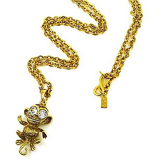 Kenneth Jay Lane Crystal & plaqué or collier pendentif singe Antique