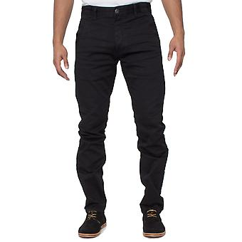Mens ETO Jeans Tapered Fit pantalon Stretch noir
