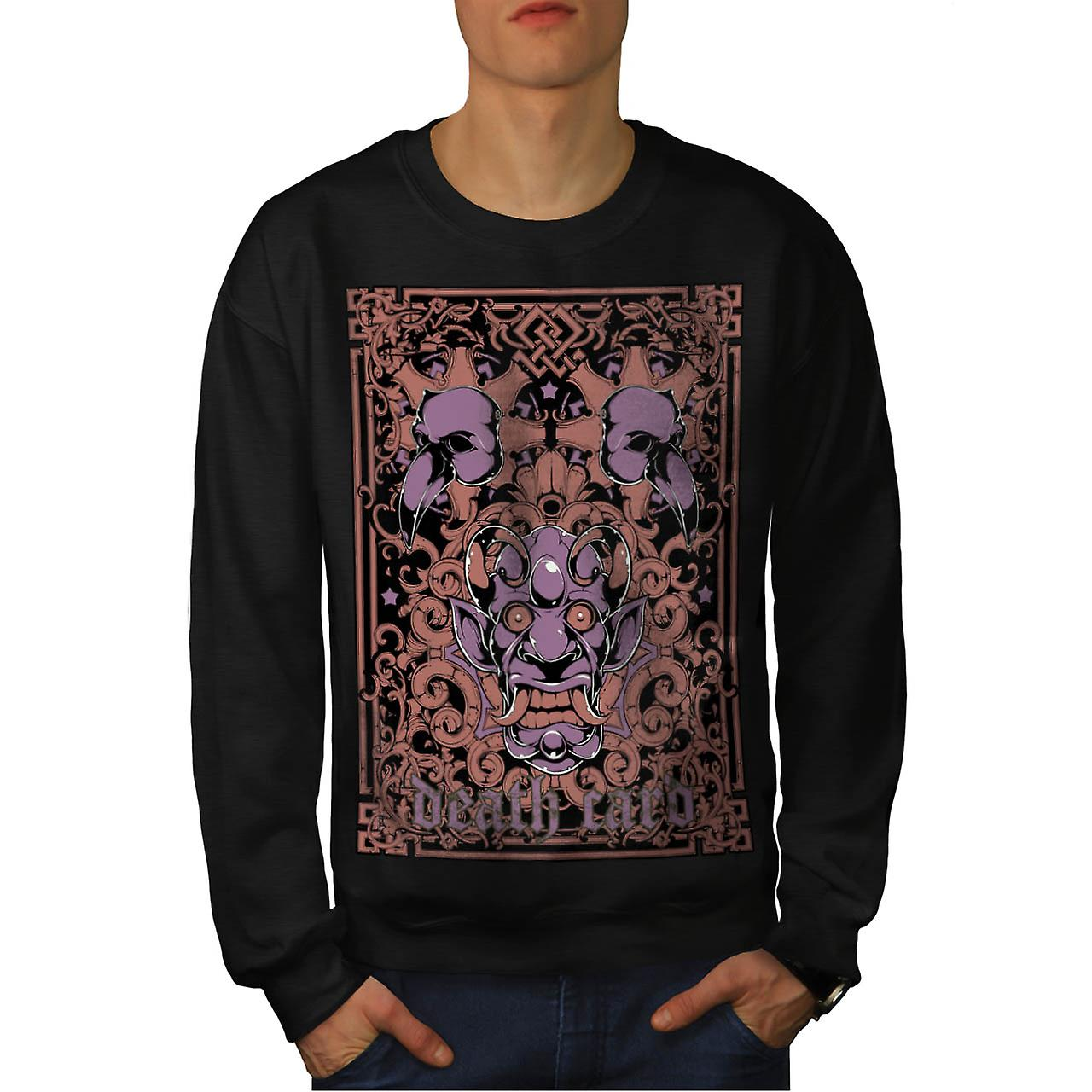Devil Death Card Bird Gambling Men Black Sweatshirt | Wellcoda