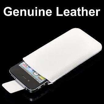 Echtes Leder Mode Handtasche-iPhone 4/4 s (weiß)