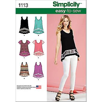 SIMPLICITY MISSES' EASY-TO-SEW KNIT TOPS-XXS-XS-S-M-L-XL-XXL US1113A