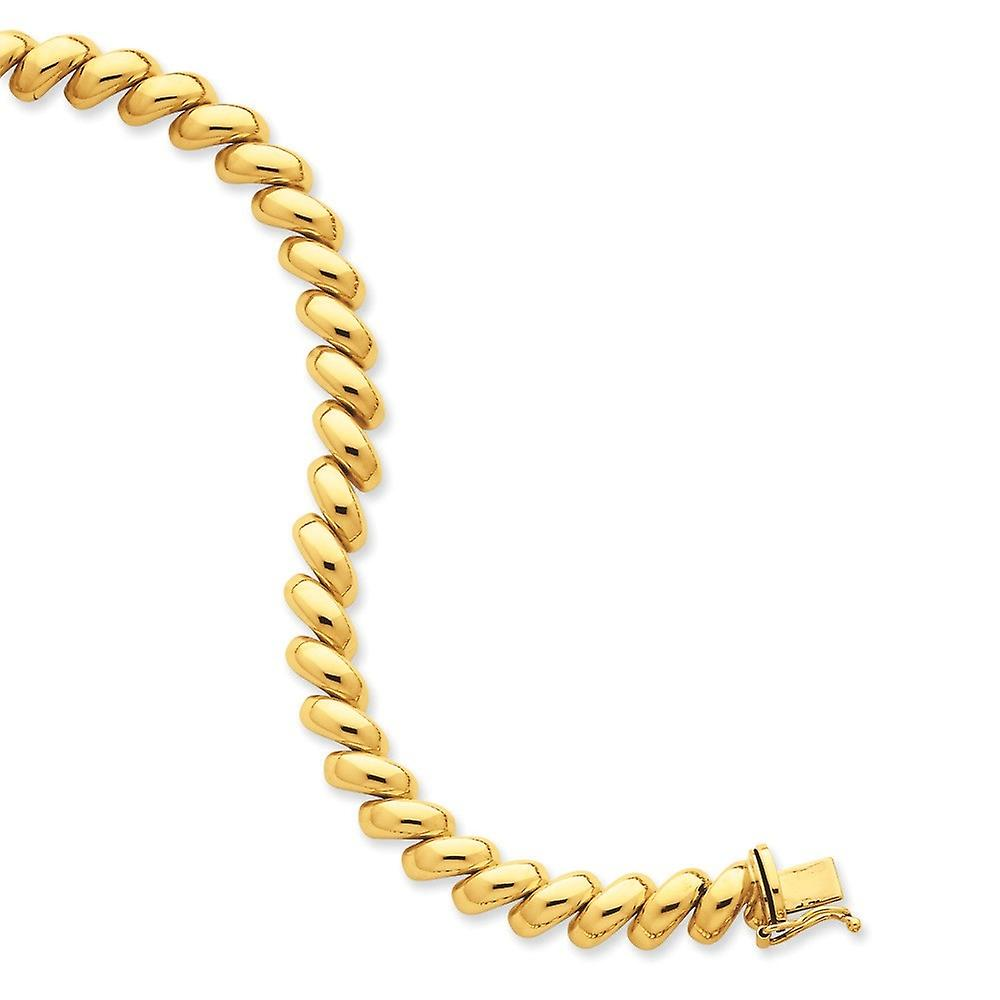 14k jaune or Hollow Polished Box Closure San Marco Bracelet - Box Clasp - Length  7 to 8