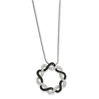 18inch Rhodium-plated Filligree Black and White CZ Pendant - 18 Inch