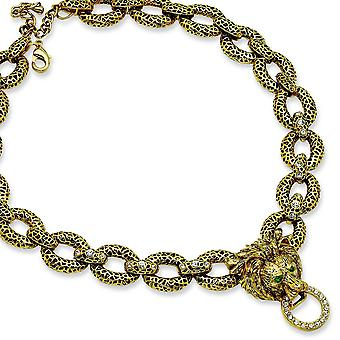 Gold-plated Swar Crystal Antiqued 18inch With 2In ext Lion Necklace