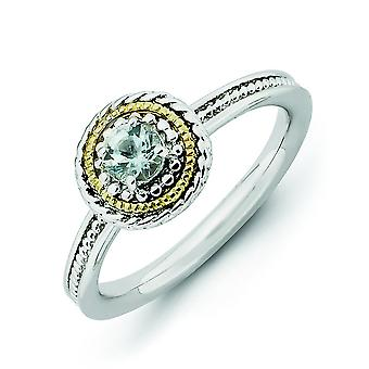 2.25mm Sterling Silver and 14k Stackable Expressions Sterling Silver Aquamarine Ring - Ring Size: 5 to 10