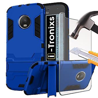 Motorola Moto G5 2017 / Lenovo moto G5 case (Blue) Cover High Quality MODERN Geometric Design [Ultra Armor] Tough Durable [Kickstand Feature] Survivor Hard Rugged [Shock Proof Case] Anti-Scratch Protective Sleekwith Back Stand Skin Case Cover + Tempered Glass Screen Protector + FREE SCREEN PROTECTOR FILM By i-Tronixs