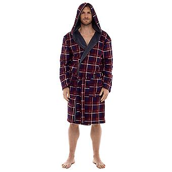 Mens Wolf & Harte Supersoft Flannel Fleece Lined Hooded Bathrobe Dressing Gown