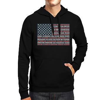 50 påstår oss flaggan Unisex svart Hoodie Crewneck tröja grafisk topp