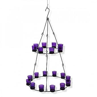 Boutique Camping 2 Tier Chandelier - Purple Glass