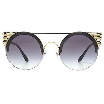 Bvlgari Serpenteyes Double Bridge Round Sunglasses In Black Pale Gold