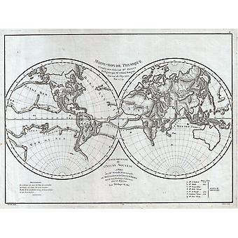 Map Of The Physical World Pallas and Mentelle 1779 Poster Print Giclee