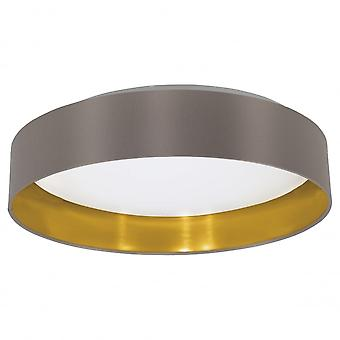 Eglo Maserlo Flush Ceiling Light Cappuccino And Gold Drum Shade