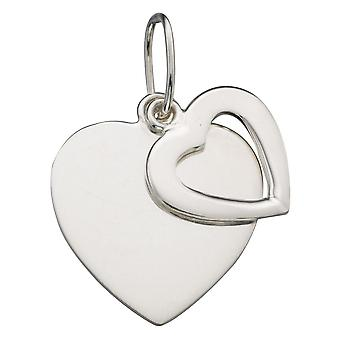 925 Silver Fashionable Twins Hearts Necklace