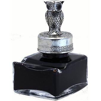 Coles Calligraphy Pewter Owl Ink Bottle