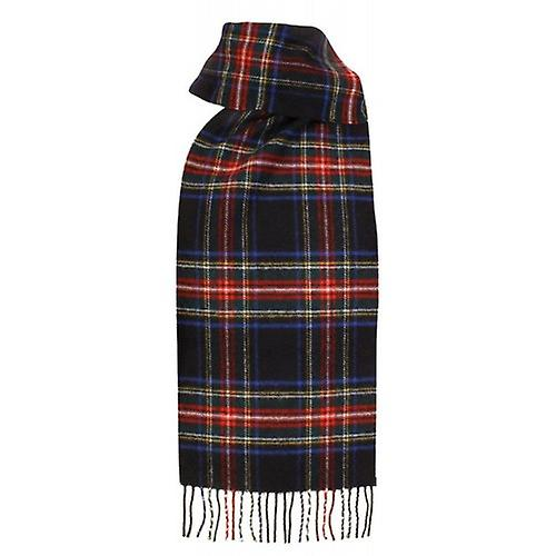 Dents Lambswool Tartan Scarf - Black Stewart
