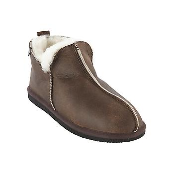 shepherd anton mens luxury sheepskin slippers in oiled antique