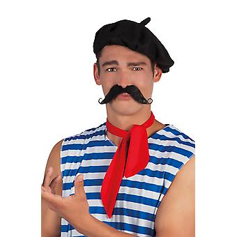 Black Frenchman Stick On Moustache Fancy Dress Accessory