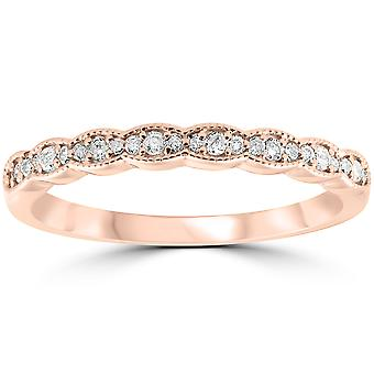 1/5 cttw Diamond stables kvinners giftering 14k Rose Gold