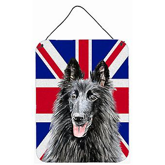 Belgian Sheepdog with English Union Jack British Flag Wall or Door Hanging Print