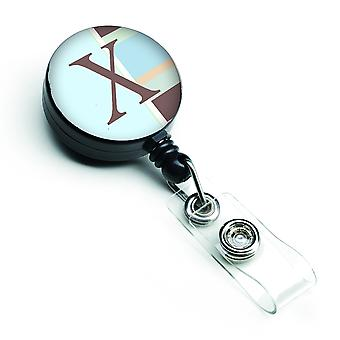 Letter X Initial Monogram - Blue Stripes Retractable Badge Reel