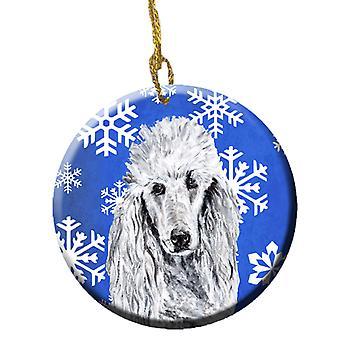 White Standard Poodle Winter Snowflakes Ceramic Ornament