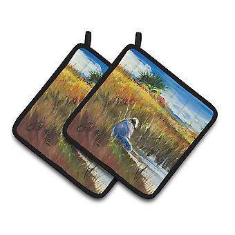 Carolines Treasures  JMK1274PTHD Fishing on the bank Pair of Pot Holders