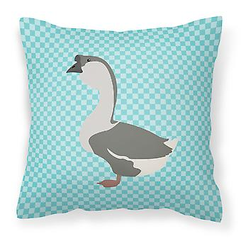 African Goose Blue Check Fabric Decorative Pillow