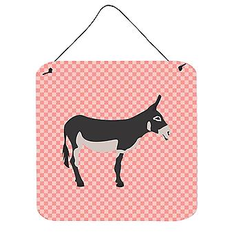 American Mammoth Jack Donkey Pink Check Wall or Door Hanging Prints