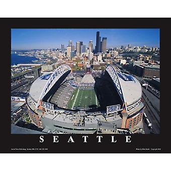 Seattle Seahawks Quest Field Washingto Poster Print by Mike Smith (28 x 22)
