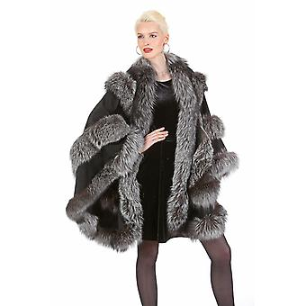Real Silver Fox Trimmed Cashmere Cape Black - Empress Style
