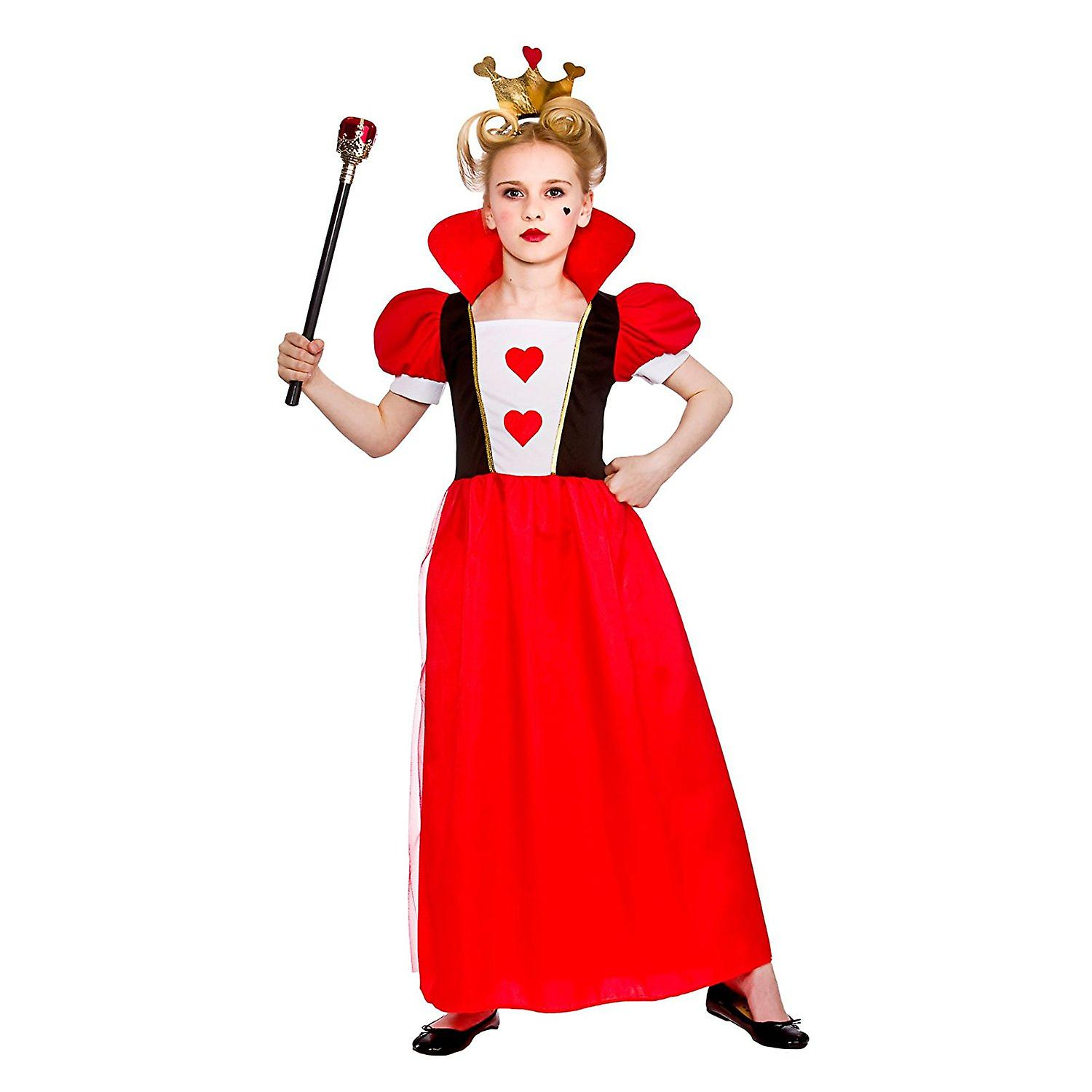 Storybook Queen Childrens Fancy Dress Costume Dress with Attached Collar & Crown