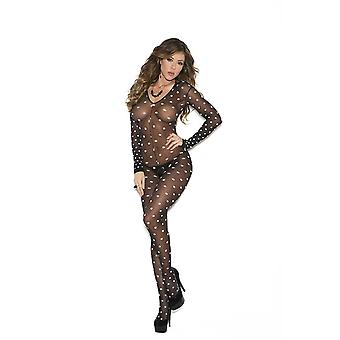 Elegancką Moments EM-1654 sama długi rękaw Polka Dot Bodystocking