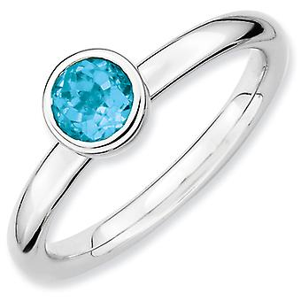 Sterling Silver Bezel Polished Rhodium-plated Stackable Expressions Low 5mm Round Blue Topaz Ring - Ring Size: 5 to 10