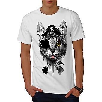 Cute Pirate Kitten Men WhiteT-shirt | Wellcoda