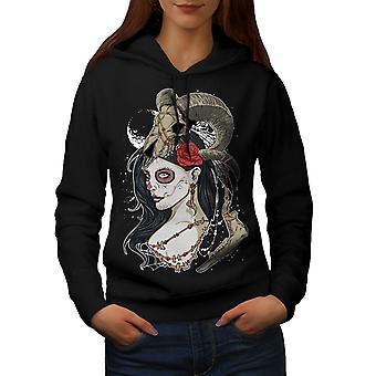 Animal Rose Skull Women BlackHoodie | Wellcoda