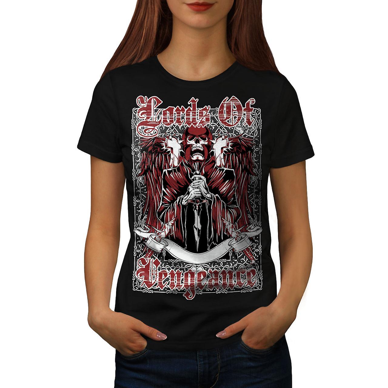 Lords Of Vengeance Skull Women Black T-shirt | Wellcoda