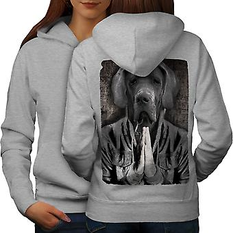 Alano Face per cani Cool donne GreyHoodie Back | Wellcoda