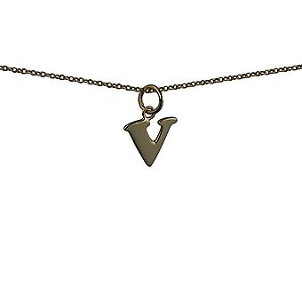 9ct Gold 11x12mm plain Initial V Pendant with a cable Chain 16 inches Only Suitable for Children