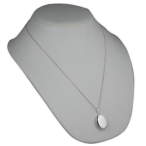 Silver 27x20mm plain oval Locket with a curb Chain 24 inches