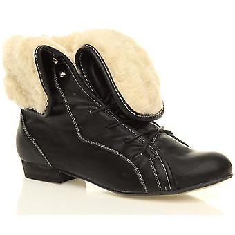 Ajvani womens low heel pixie fur fold over cuff lace up vintage ankle boots shoes