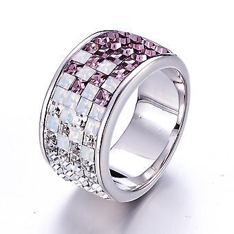 Swarovski Elements weiß, lila Kristall Ring und Platte Rhodium-T52