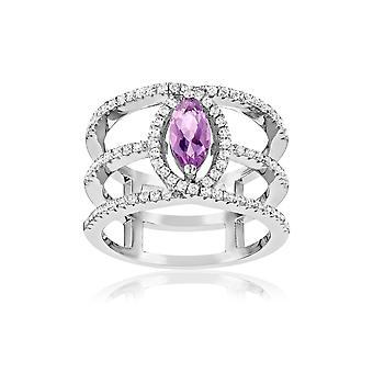 Silver Ring 925 adorned with 85 Swarovski Crystals Cubic Zirconia