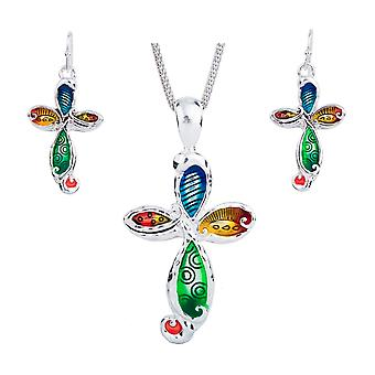 Parure: Necklace and earrings multicolor cross