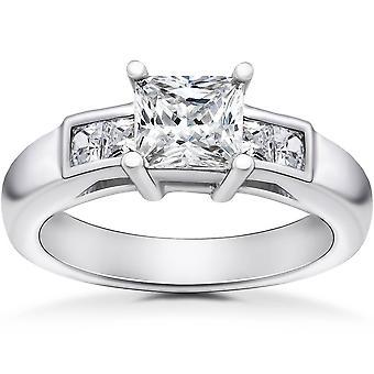 1 1/2 ct Принцесса Cut пасьянс бриллиантовое обручальное кольцо 14 K Белое золото Улучшено