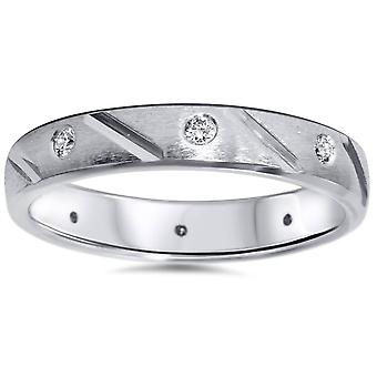 1/4ct Mens Diamond Wedding Ring 14K White Gold Comfort Fit