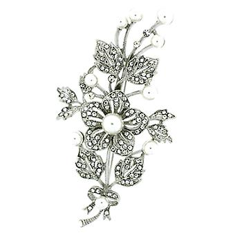 Brooches Store Pearl Silver & Crystal Flower Bouquet Corsage Brooch