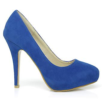H251 Royal Blue Faux Suede Stiletto High Heel Concealed Platform Court Shoes