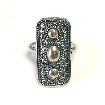 Sterling Silver Byzantine Style Rectangular Ring